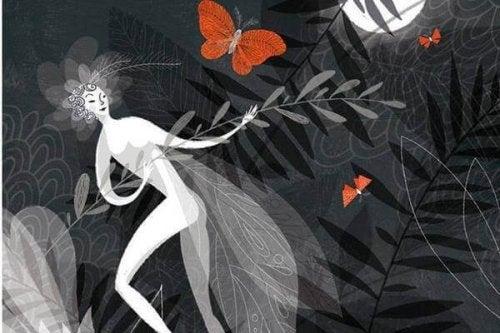 dessin de femme et papillons