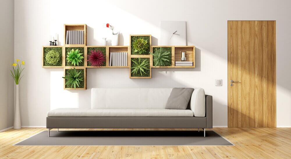 jardin vertical dans le cadre d'une décoration avec des plantes
