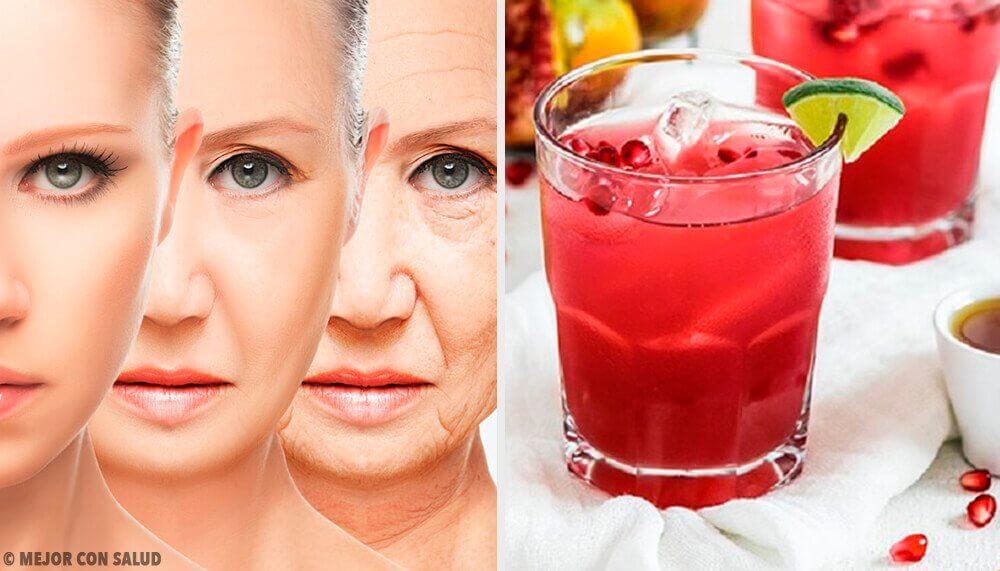 Jus antioxydant et rajeunissant à base de raisin, de grenade et de moringa