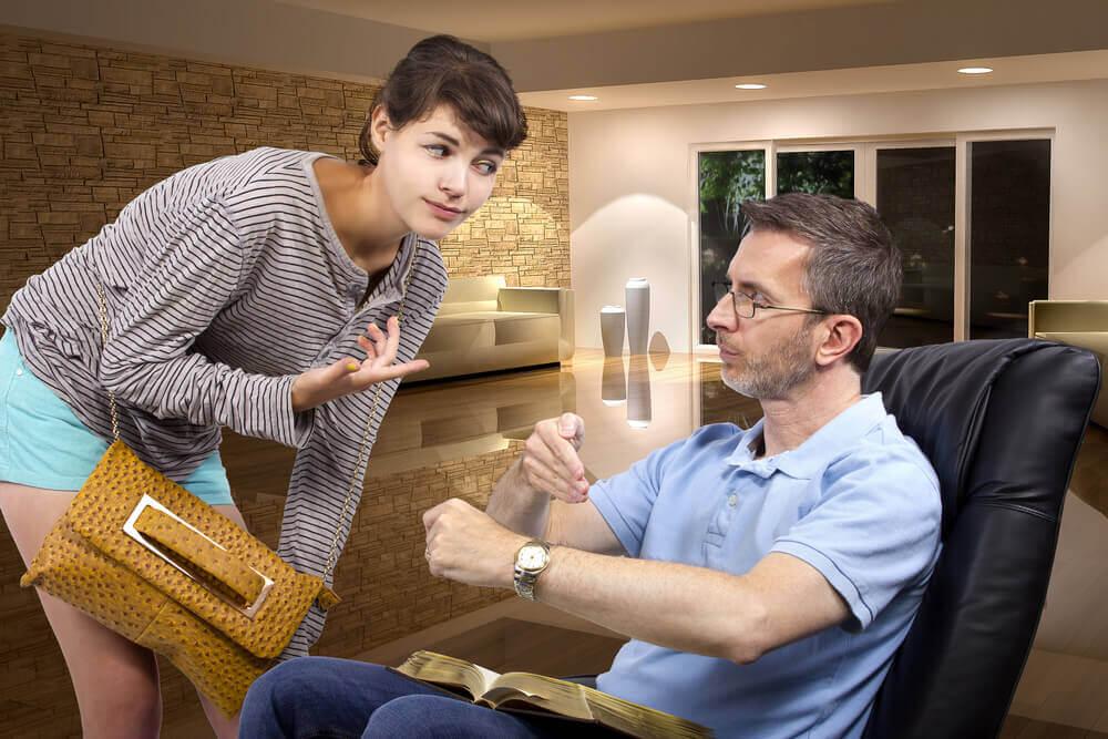 adolescente avec son père