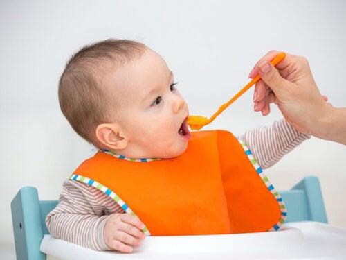 bébé mangeant de la compote maison