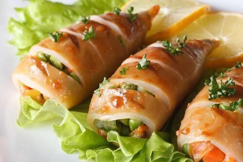 recette de calamars en sauce et farcis