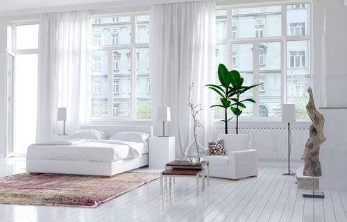 Chambre ou prédomine le blanc