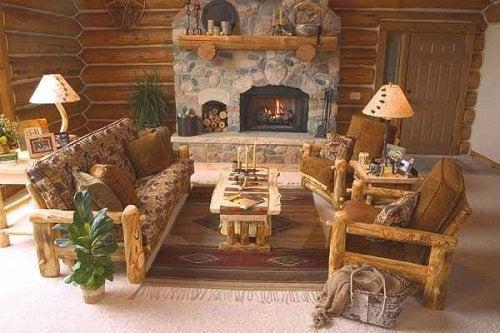 pièce avec décoration rustique