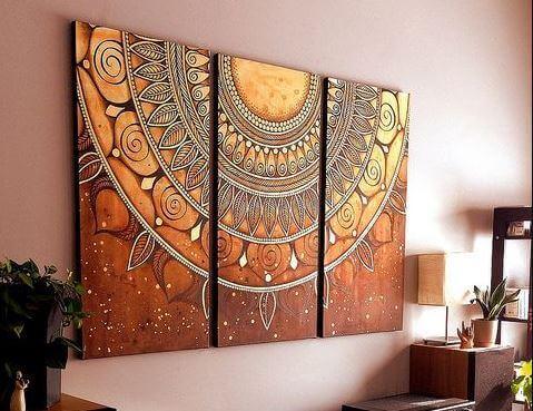 décoration avec des mandalas sur un mur