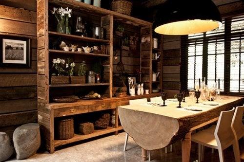 salle à manger dans le style de décoration rustique