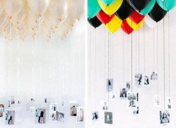 Des photos accrochées à des ballons