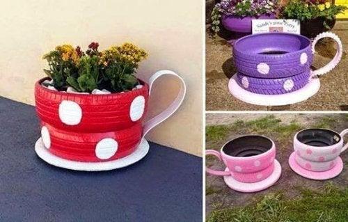 recycler les pneus usagers en pots de fleurs