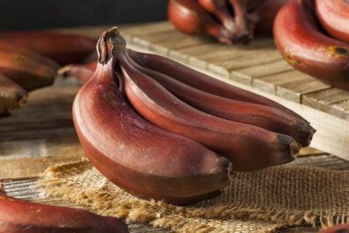 Dessert à la banane rouge.