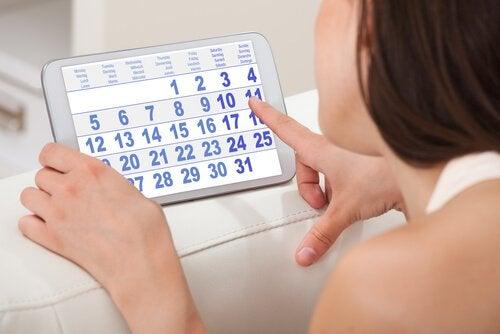 calendrier des menstruations