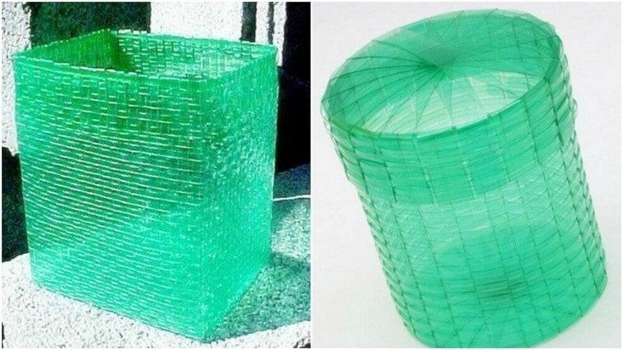 Préparer des poubelles avec des bandes de plastique