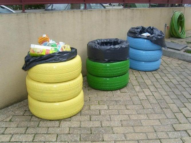 Fabriquer des poubelles avec des pneus pour stocker des déchets