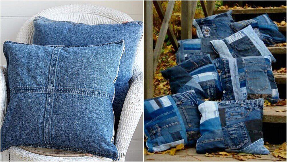 coussins fabriqués avec des vieux jeans
