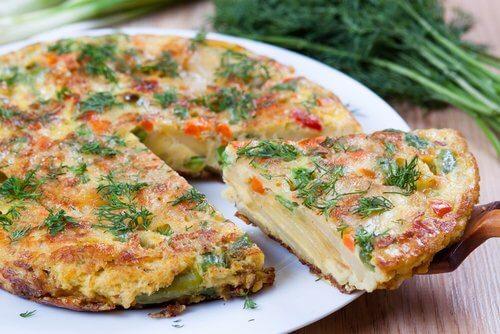 omelettes de pomme de terre aux légumes