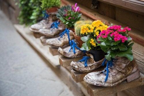vieilles chaussures recyclées en pots de fleurs
