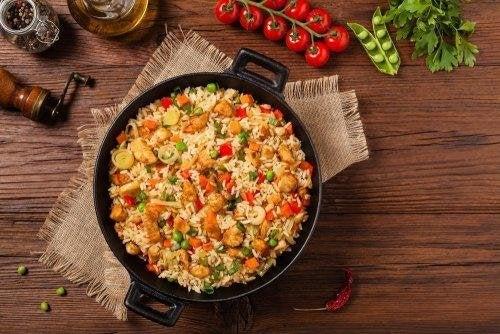 riz aux légumes et aux graines de chia