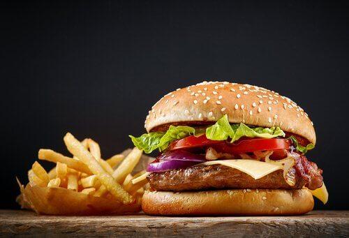 hamburger au poulet avec frites