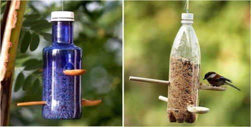 mangeoires pour oiseaux en emballages plastique recyclés