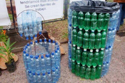 poubelles en emballages plastique recyclés