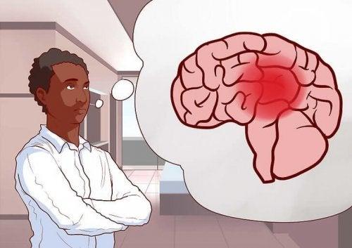 L'illustration d'un médecin qui pense au cerveau