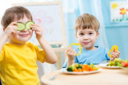 Les légumes sont importants dans le régime alimentaire des enfants âgés entre 1 et 3 ans