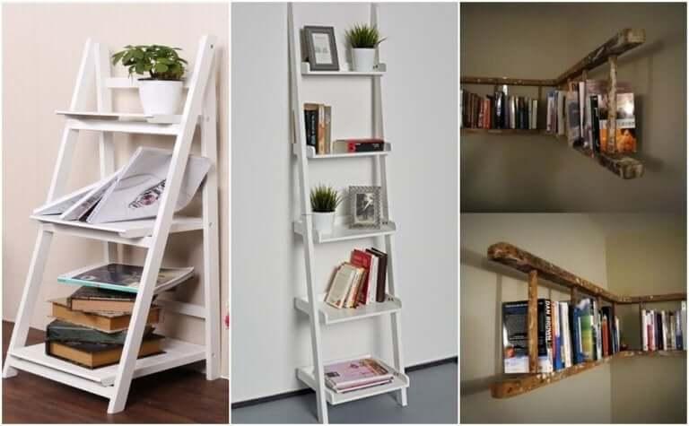 étagères à livres faites à partir d'échelles