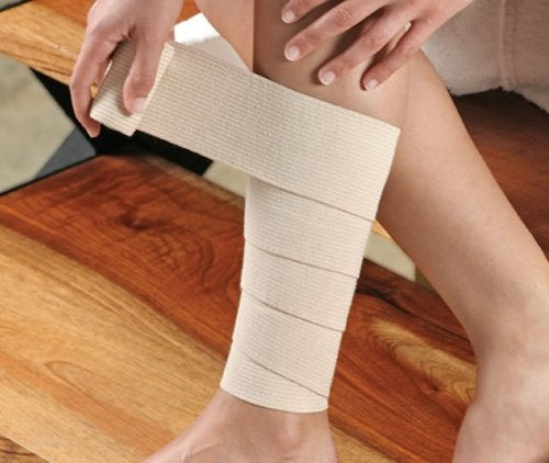 L'application de bandages sur le mollet