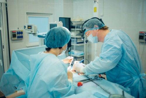 Deux chirurgiens lors d'une opération de vasectomie