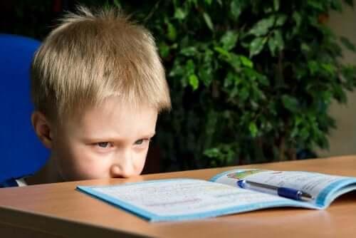 Un jeune garçon regarde un livre.