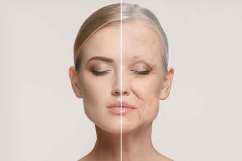 Deux photos montrant une femme en train de viellir