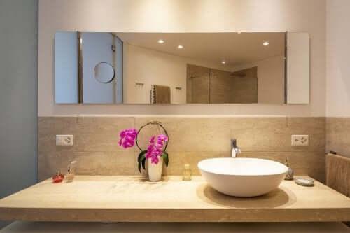 Une orchidée dans une salle de bains
