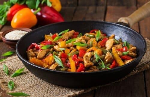 Recettes de poulets aux champignons : poulet, champignons et poivrons