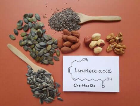 Des graines et des fruits secs contenant de l'acide linoléique.