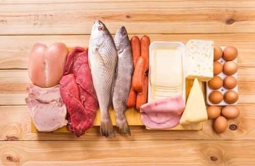 Des aliments contenant des protéines.