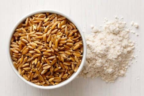Grains et farine de kamut.