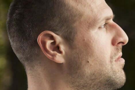 Visage d'un nez de profil avec un nez aquilin.