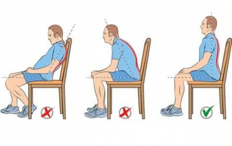 Schémas de bonnes et mauvaises postures assises.