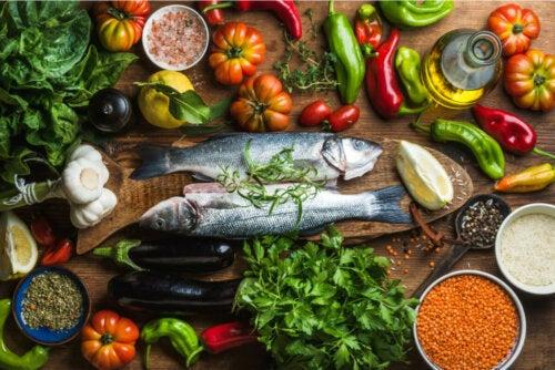 Aliments du régime méditerranéen.
