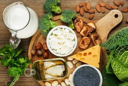 Aliments riches en calcium.