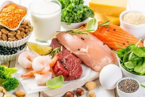Des aliments riches en protéines.