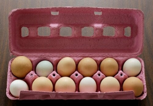 Une boîte avec douze oeufs.