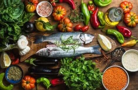 Les aliments du régime méditerranéen.