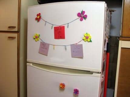 Un frigo décoré.