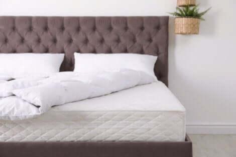 Modèle d'un lit dans une chambre.