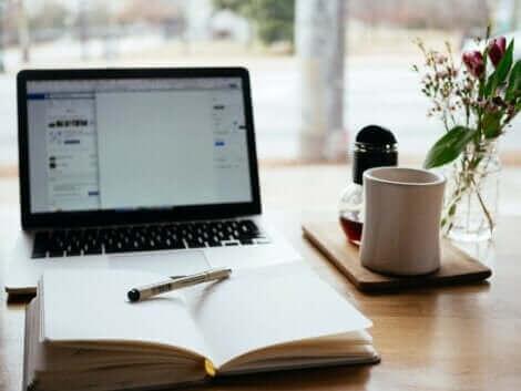 Un ordinateur et un cahier.
