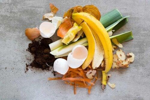 Des épluchures de fruits et de légumes avec des coquilles d'oeufs.