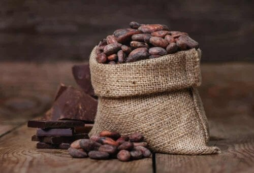 Sac de fèves de cacao.