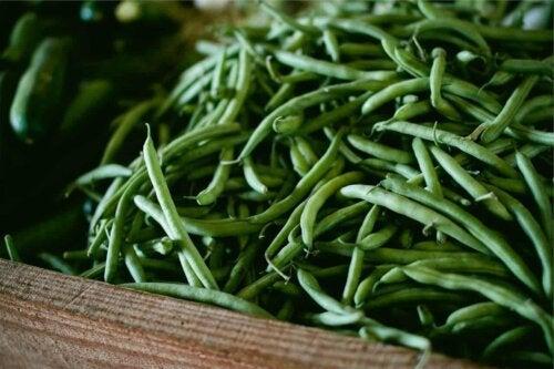 Des haricots verts frais.