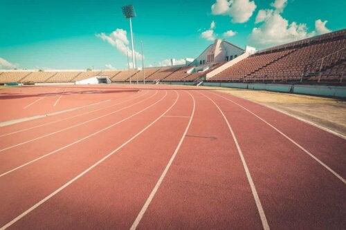 Une piste d'athlétisme.