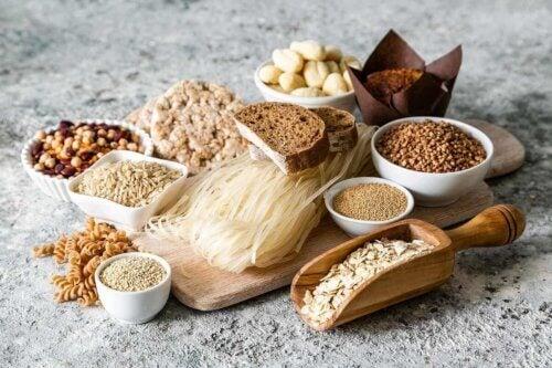 Des produits avec du gluten.